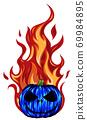 fiery halloween pumpkin digital vector design illustration 69984895