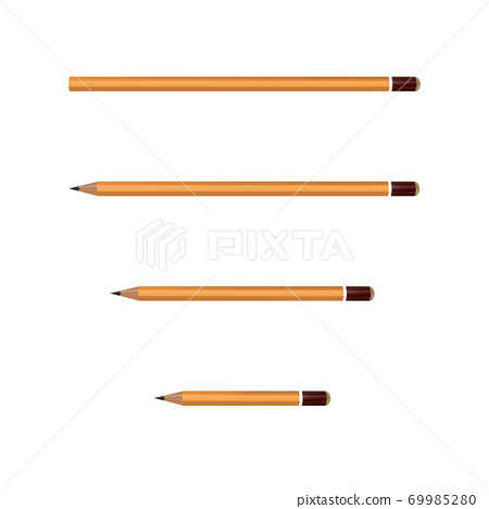 Yellow Wooden sharp pencils isolated on white background. Vector illustration. 69985280