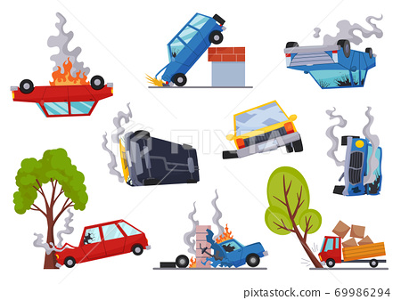 Accidents on road cars damaged. Road accident icons set with car crash symbols flat isolated. Damaged vehicle insurance. Damaged autos. Need repair service or not recoverable 69986294
