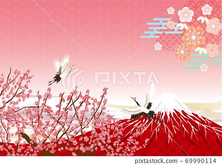 紅富士和鶴的日式新年賀卡材料 69990114