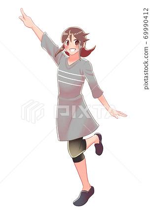 소녀가 가리키고있는 전신 그림 69990412