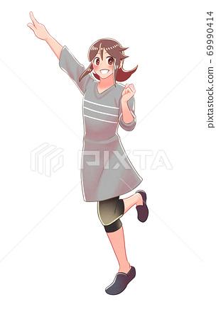 소녀가 가리키고있는 전신 그림 69990414