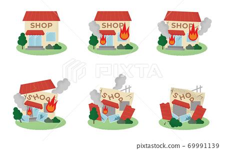 遭受火災的商店的矢量圖 69991139