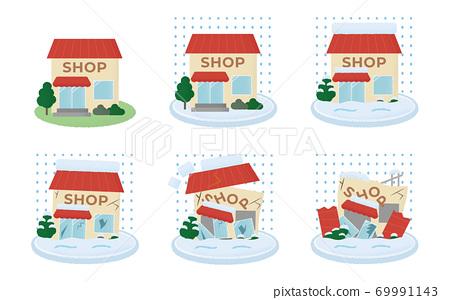 矢量插圖集的商店患有大雪 69991143
