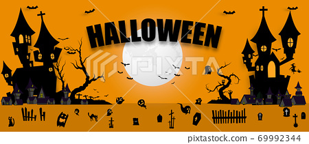 Halloween Party poster. Carnival Background concept design 69992344