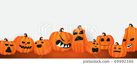 Halloween Paper art Party poster. Set pumpkins of Collection Scary and funny Carnival Background concept design 69992386