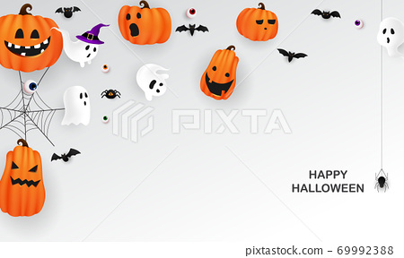 Halloween Paper art Party poster. Carnival Background concept design 69992388