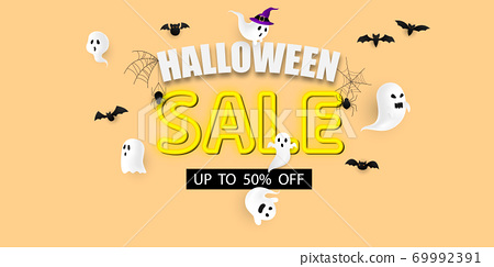 Halloween sale Carnival Background, concept design Party, 69992391