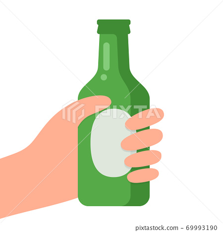 Hand holding bottle of beer. 69993190