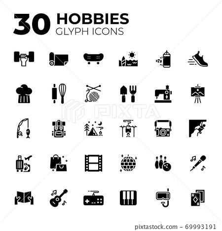 Glyph style hobbies icons. 69993191