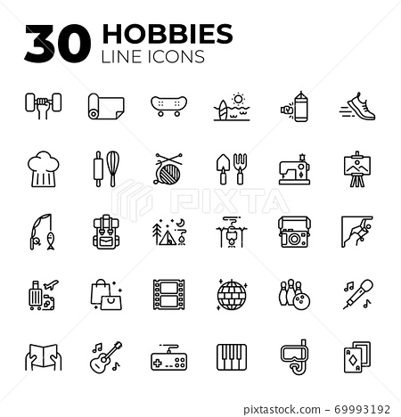 Outline style hobbies icons. 69993192