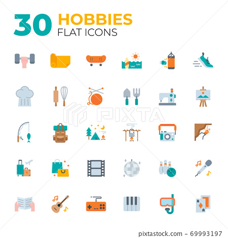 Flat style hobbies icons. 69993197