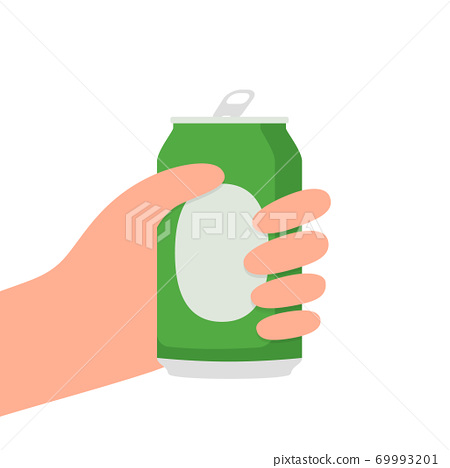 Hand holding beer can. 69993201