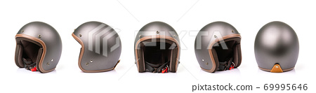 Close up set of new grey vintage helmet. Studio shot isolated on white 69995646