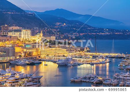 Monte Carlo Monaco, city skyline night at Ville port 69995865