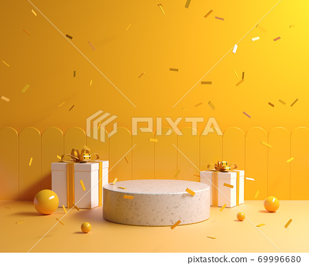 Minimal Yellow Concept Mockup Stone Podium With Gift Box And Ribbon Falling Background 3d Render 69996680