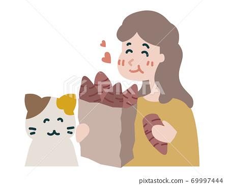 吃烤三文魚的婦女 69997444