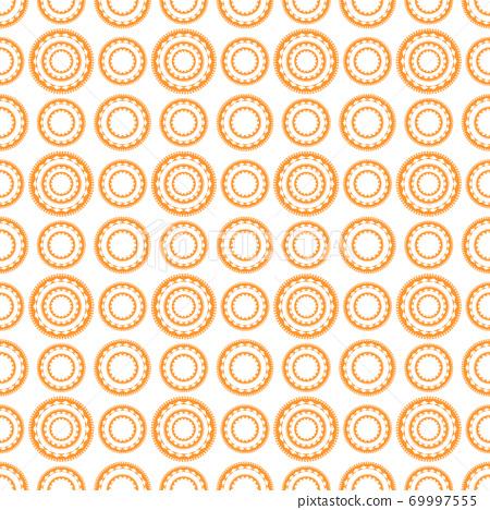 橘色圓形圖案無縫背景 69997555
