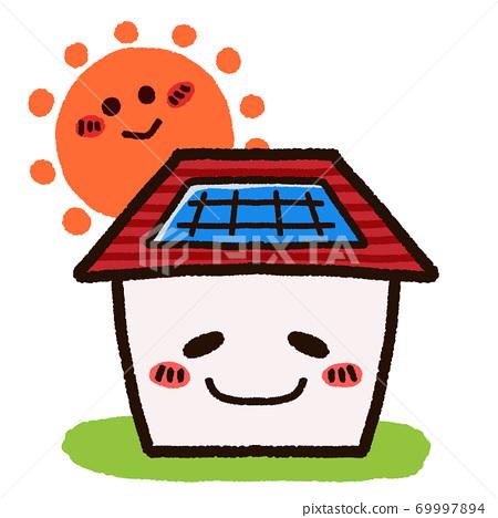 帶有太陽能電池板的房屋字符 69997894