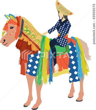 Simple illustration of Iwate Prefecture's Chag Chag Horse 69998078
