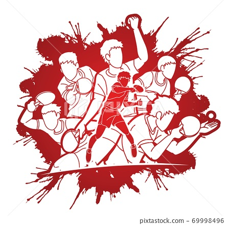 Group of Ping Pong players, Table Tennis players action cartoon sport graphic vector.	 69998496