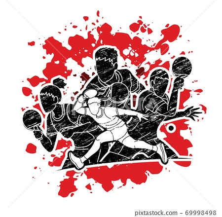 Group of Ping Pong players, Table Tennis players action cartoon sport graphic vector. 69998498
