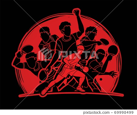 Group of Ping Pong players, Table Tennis players action cartoon sport graphic vector. 69998499