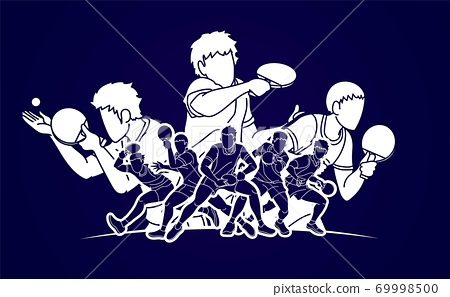Group of Ping Pong players, Table Tennis players action cartoon sport graphic vector. 69998500