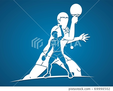 Group of Ping Pong players, Table Tennis players action cartoon sport graphic vector.	 69998502