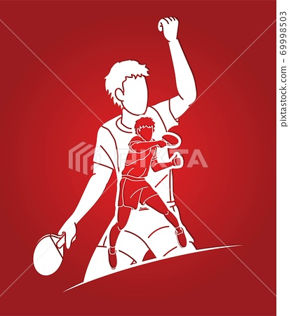 Group of Ping Pong players, Table Tennis players action cartoon sport graphic vector.	 69998503