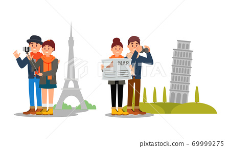 Young Couple Travelling on Vacation Vector Illustration Set 69999275