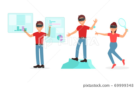People Characters in Augmented Reality Glasses Playing Game Vector Illustration Set 69999348