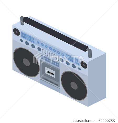 Vector isometric flat illustration Boombox. Cassette recorder. 70000755