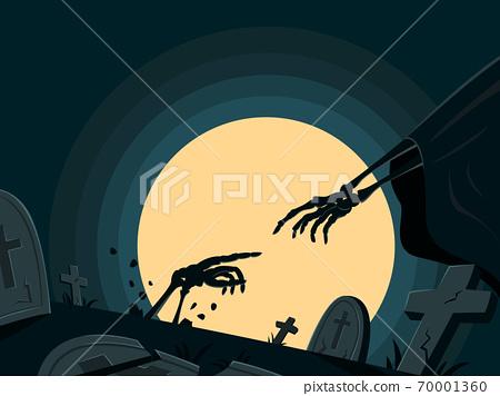 Skeleton is Resurrecting in Tomb for Halloween Wallpaper. 70001360
