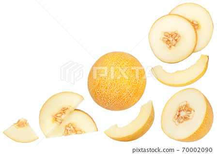 Melon slices isolated on white background with clipping path. Top view with copy space for your text. Flat lay 70002090