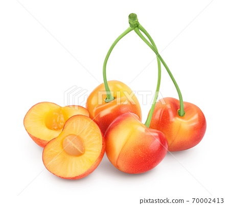 yellow-red sweet cherry isolated on white background with clipping path and full depth of field 70002413