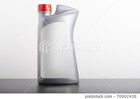 Car hydraulic oil bottle with blank label mock-up 70002438