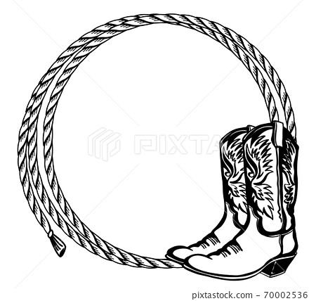 cowboy rope frame with cowboy boots. vector... - stock illustration  [70002536] - pixta  pixta