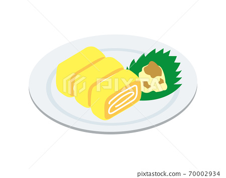 Egg fried on a plate (dashi roll egg) 70002934