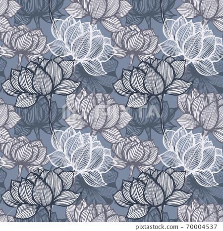 Blue and grey art deco flower pattern. Flower gold line art. Vector floral background. 70004537