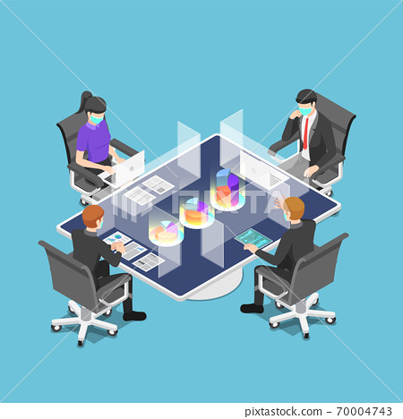 Isometric business team meeting with clear glass partition and wearing mask after pandemic of covid-19 70004743