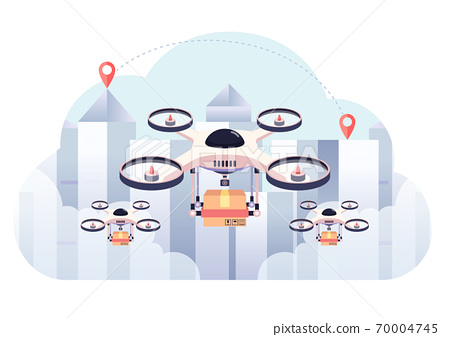 Drone Delivery The Package on City Background 70004745
