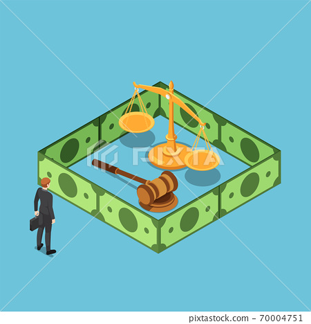 Isometric businessman standing with justice scale gavel surrounding by dollar bill wall 70004751