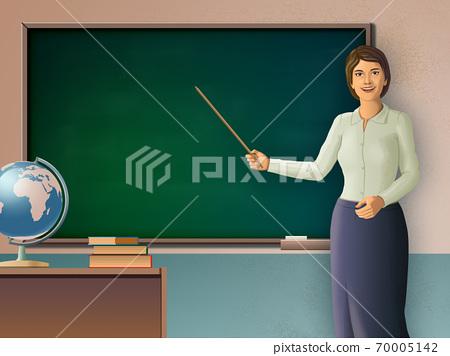 Female teacher pointing to a blackboard 70005142