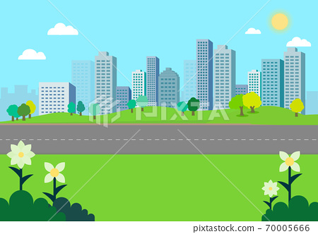 Nature park landscape with city background.Natural scene with Pathway.Road with building and sky background.City scape with nature view.Vector illustration 70005666