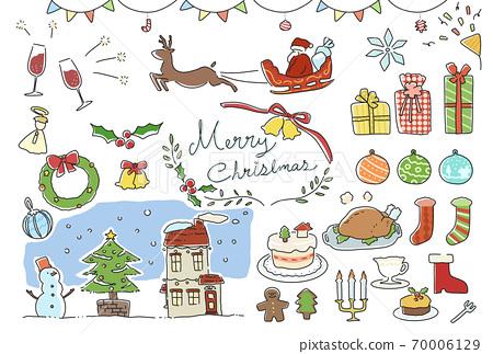 필기 바람의 귀여운 크리스마스 일러스트 세트 70006129