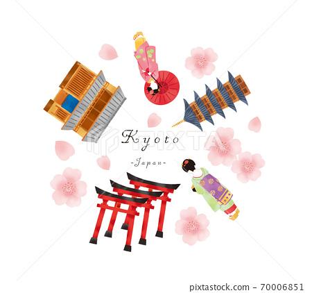 設置春季舞妓和京都聯排別墅和寺廟的插圖 70006851