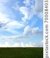 複雜的雲天空和草坪 70008403