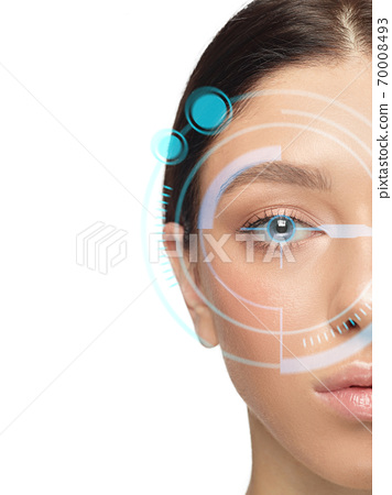 Future woman with cyber technology eye panel, cyberspace interface, ophthalmology concept 70008493