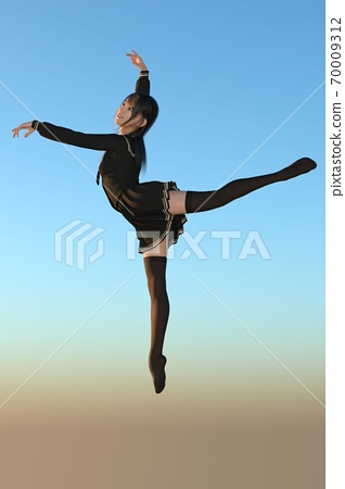 A long-haired girl in a sailor suit dancing under the blue sky 70009312